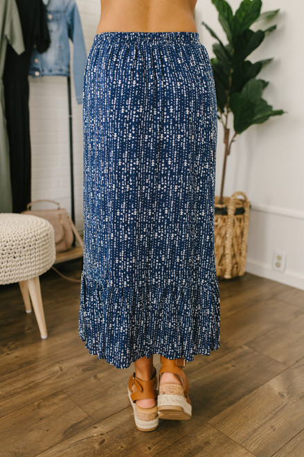 Everly Printed Maxi Skirt - Navy/White