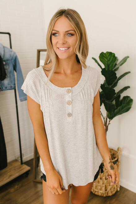 Cap Sleeve Henley Waffle Top - Heather Grey