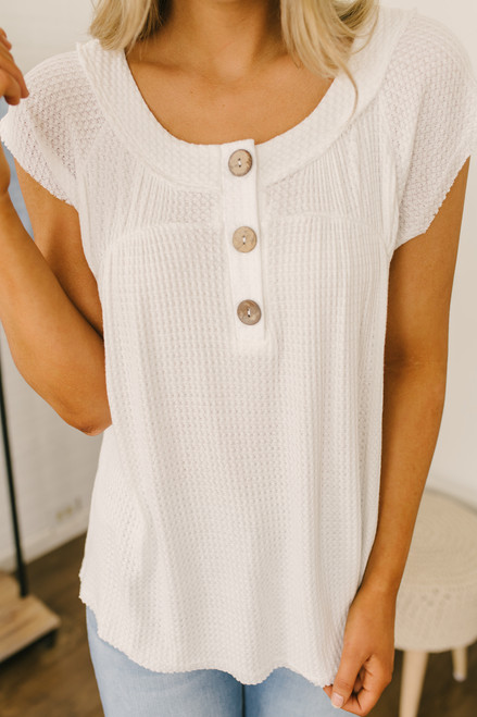 Cap Sleeve Henley Waffle Top - Off White - FINAL SALE
