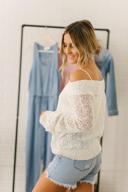 Lightweight Open Knit Boatneck Sweater - White