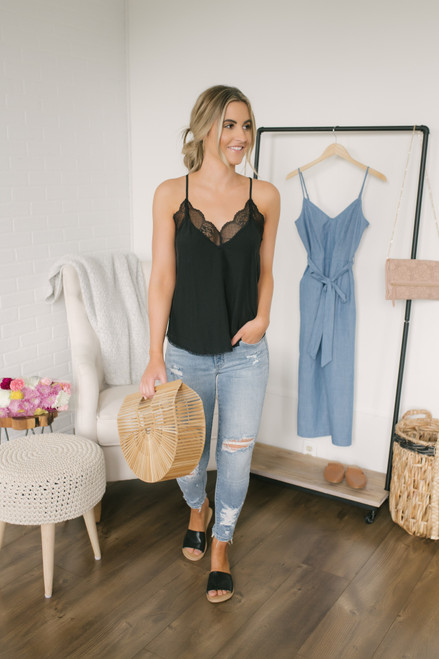 By My Side V-Neck Lace Tank - Black