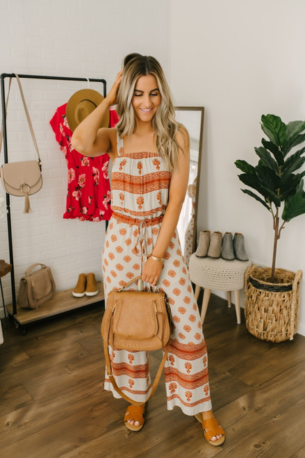 Moroccan Nights Printed Jumpsuit - Taupe/Rust