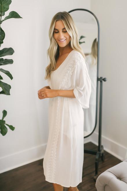 Sweet Bliss Crochet Detail Kimono - White