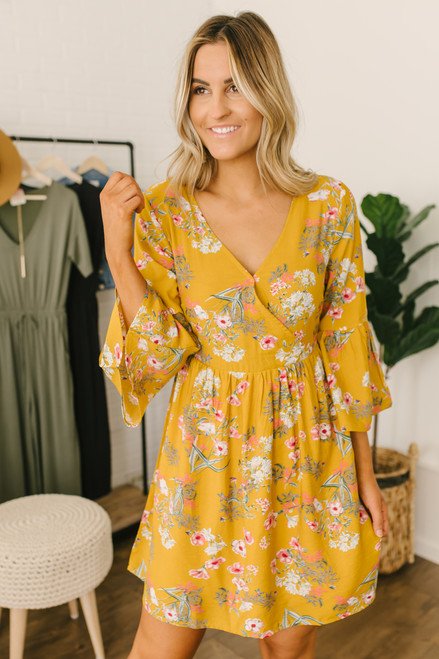 bfa221e408 Peplum Sleeve Surplice Floral Dress - Mustard Multi