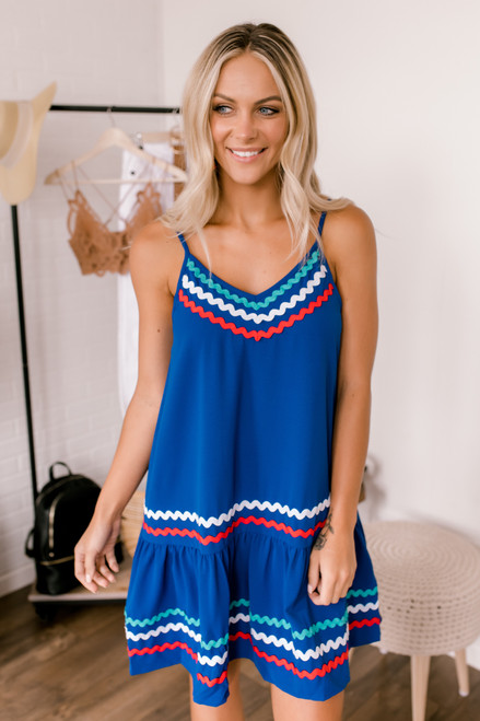 Wavy Ribbon Drop Waist Dress - Royal Blue - FINAL SALE