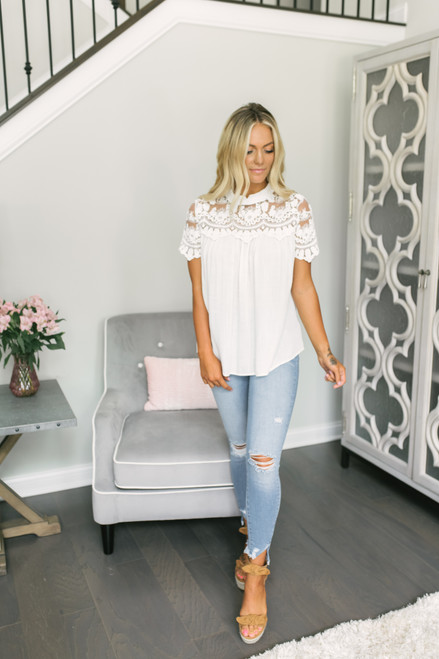 Mock Neck Lace Detail Top - White