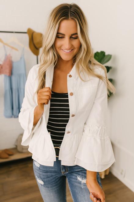 Flare Sleeve Ruched Peplum Jacket - White