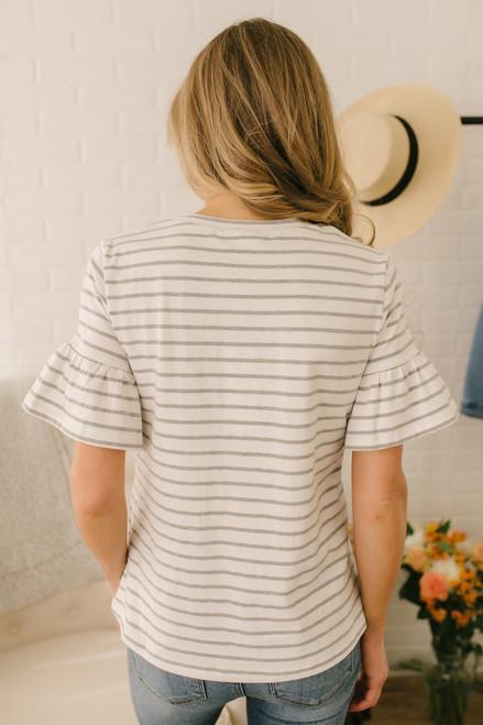 Adley Ruffle Sleeve Striped Tee - White/Grey