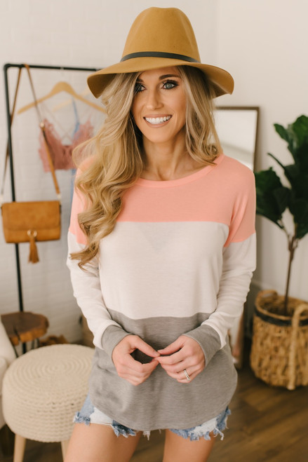 Bright Side Colorblock Pullover - Peach/Ivory/Grey