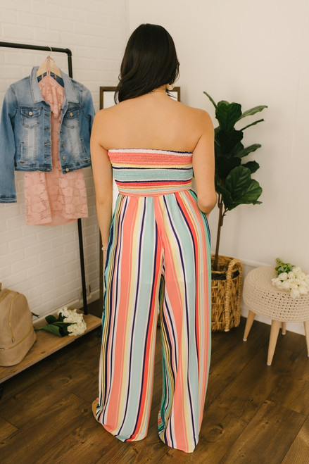 Ray of Sunshine Strapless Striped Jumpsuit - Peach Multi