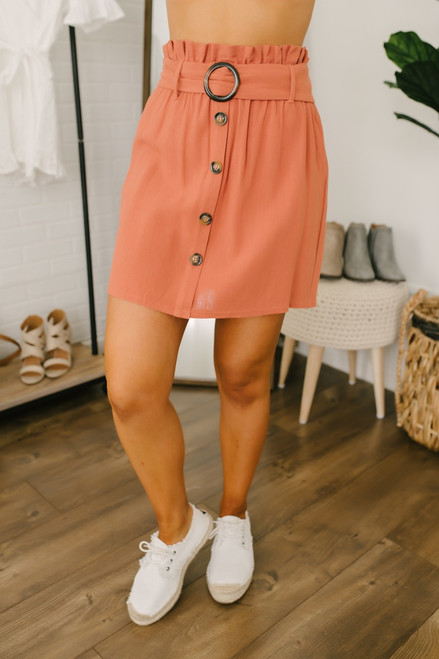 Everly Button Down Paperbag Linen Skirt - Sunset Clay - FINAL SALE