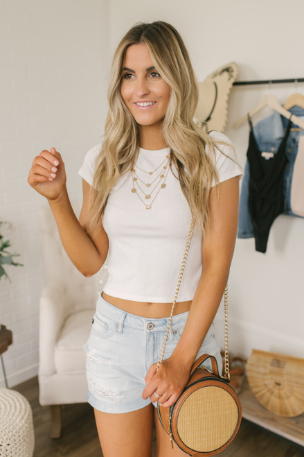 Cap Sleeve Ribbed Knit Crop Top - White - FINAL SALE