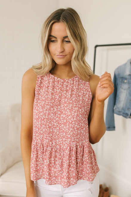 aeb10f6d1d1b7f Everly Floral Peplum Tank - Cranberry Blush