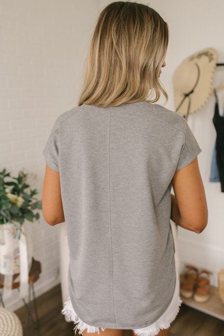 Everly Soft Terry Curved Hem Top - Heather Grey