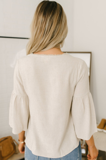 Everly V-Neck Linen Knot Top - Oatmeal