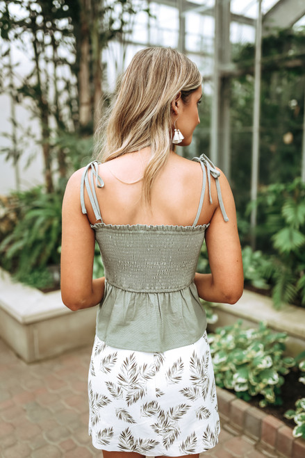 Button Detail Smocked Peplum Top - Olive