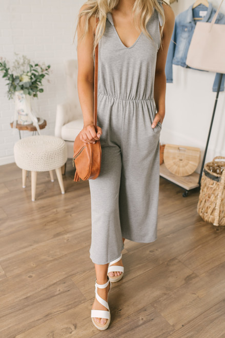 Everly Soft Terry Tie Strap Jumpsuit - Heather Grey