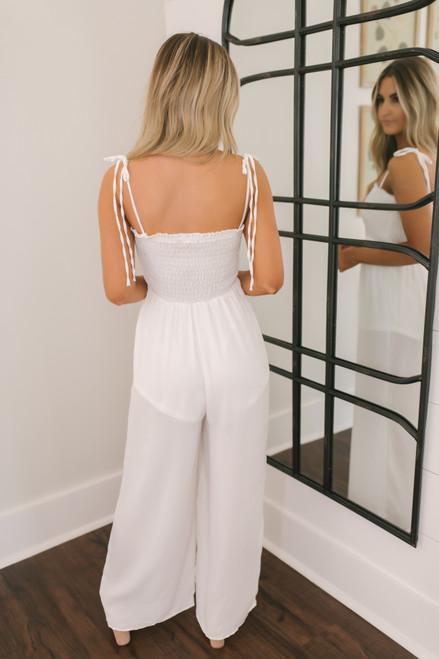 Talia Tie Strap Smocked Jumpsuit - Off White - FINAL SALE