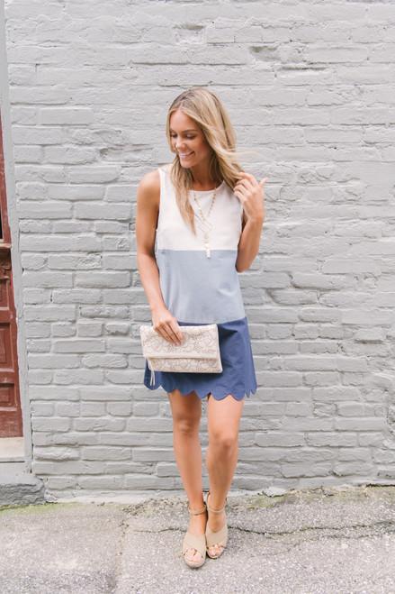 Annamae Scalloped Colorblock Dress - White/Dusty Blue/Navy