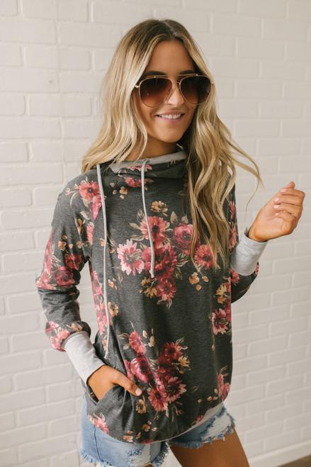 Blooming Love Contrast Floral Hoodie - Black Multi