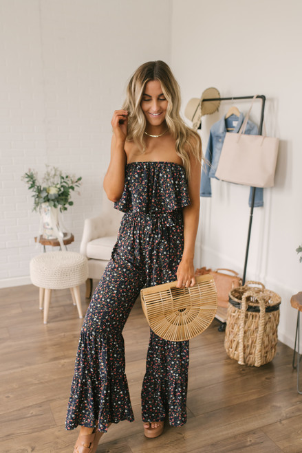 Strapless Floral Flare Jumpsuit - Navy Multi