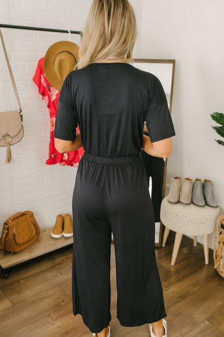 V-Neck Short Sleeve Cropped Jumpsuit - Black