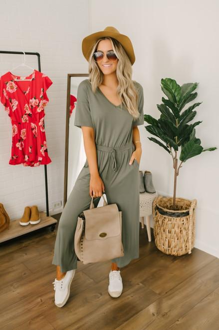 V-Neck Short Sleeve Cropped Jumpsuit - Olive
