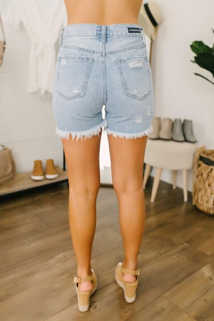 High Waist Distressed Denim Shorts - Light Wash