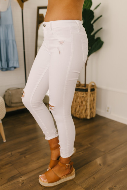 Sunkissed Distressed Skinny Jeans - White