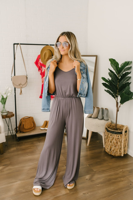 V-Neck Cross Back Pocket Jumpsuit - Charcoal - FINAL SALE
