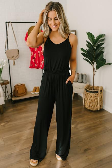 V-Neck Cross Back Pocket Jumpsuit - Black