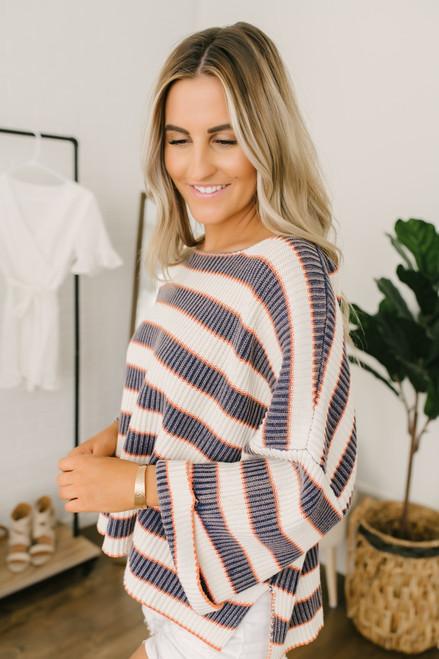 Twilight Stonewashed Striped Sweater - Navy/Ivory/Orange - FINAL SALE