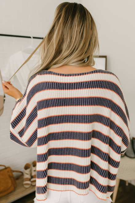 Twilight Stonewashed Striped Sweater - Navy/Ivory/Orange