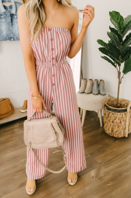 Strapless Button Detail Striped Jumpsuit - Rust/White - FINAL SALE