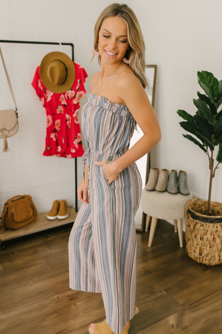 Strapless Drawstring Striped Jumpsuit - Navy Multi - FINAL SALE