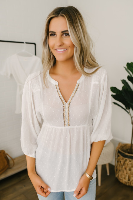 Contrast Braided Detail Dotted Babydoll Top - Ivory