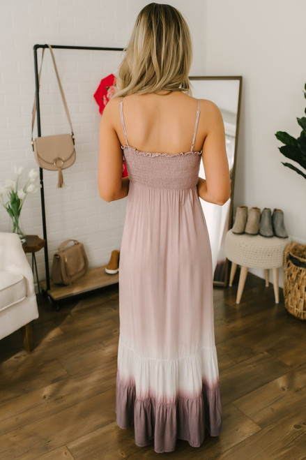 Smocked Detail Tiered Ombre Maxi - Mauve Multi