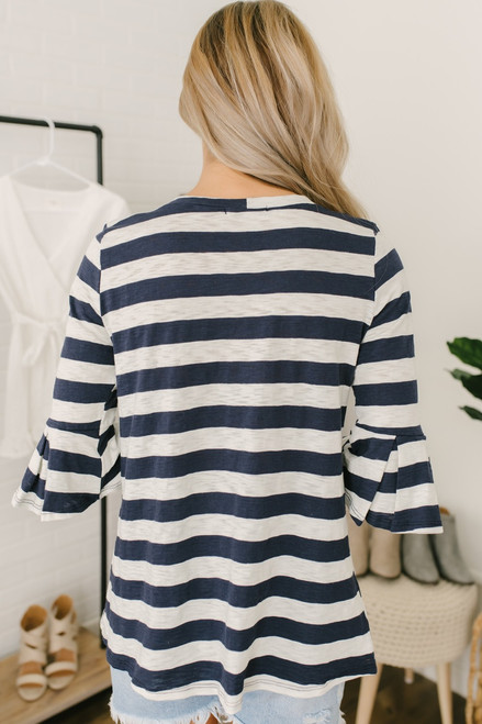 Ruffle Sleeve Striped Burnout Tee - Navy/Ivory