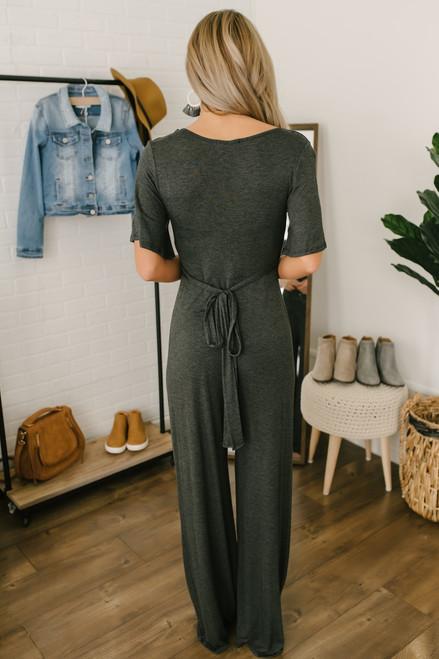 Short Sleeve Empire Waist Jumpsuit - Charcoal - FINAL SALE