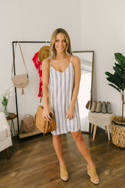 Marina Bay V-Neck Striped Dress - Blue/White