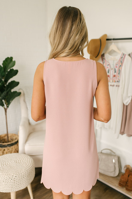 Southern Classic Scalloped Shift Dress - Blush- FINAL SALE