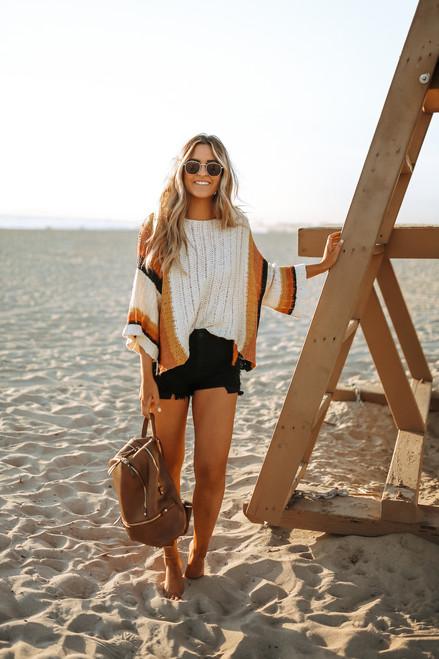 California Sunset Colorblock Sweater - Natural Multi