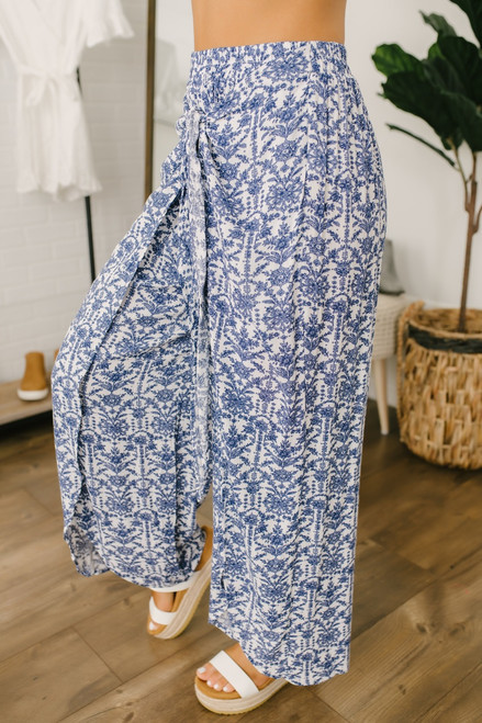 Tie Front Printed Slit Pants - Blue/White - FINAL SALE