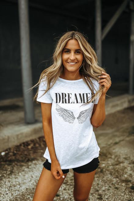 Dreamer Angel Wings Tee - White
