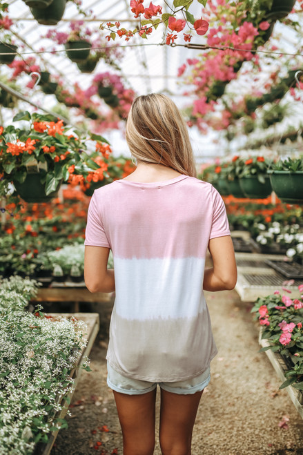 Summer Lovin' Ombre Pocket Tee - Pink/White/Taupe- FINAL SALE