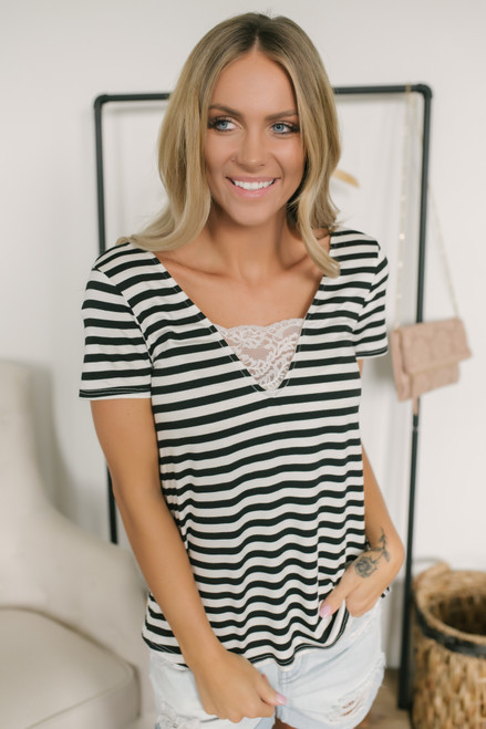 V-Neck Lace Detail Burnout Striped Tee - Black/White