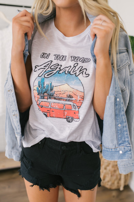 On the Road Again Tank - White - FINAL SALE