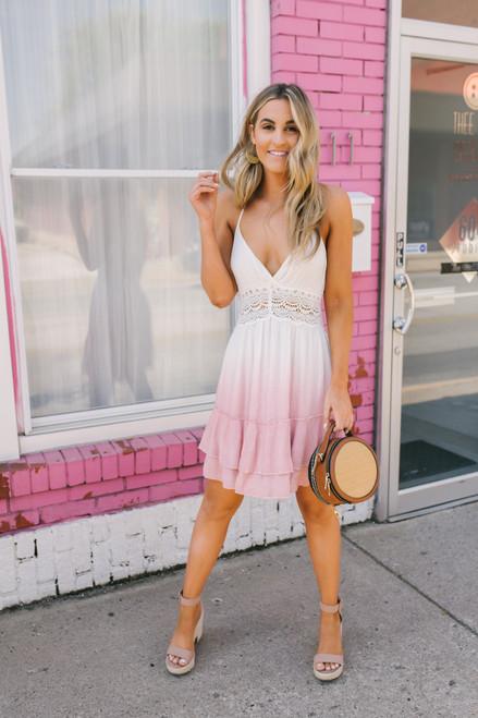 Open Back Crochet Detail Ombre Dress - White/Pink