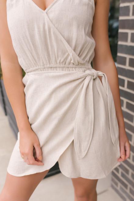 Malia Surplice Linen Wrap Dress - Natural  - FINAL SALE