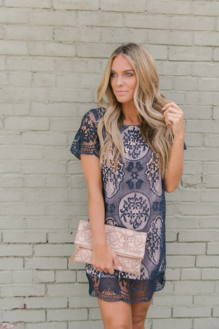Short Sleeve Crochet Shift Dress - Navy/Blush